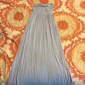 Sexy Cotton Baby Blue Strapless dress
